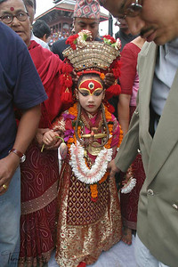 """On the third day of the festival of Indra Jatra, the living goddess Kumari is taken out in a procession in a chariot. """"Kumari"""", the """"living goddess"""", is considered to be an incarnation of the goddess """"Taleju"""". Chariots of Kumari, Ganesha and Bhairav are taken around the city for three days."""