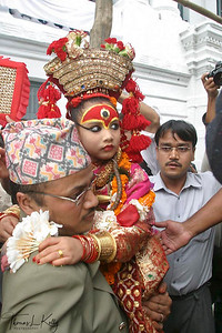 "On the third day of the festival of Indra Jatra, the living goddess Kumari is taken out in a procession in a chariot. ""Kumari"", the ""living goddess"", is considered to be an incarnation of the goddess ""Taleju"". Chariots of Kumari, Ganesha and Bhairav are taken around the city for three days."