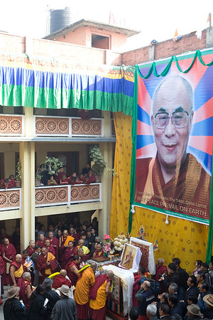 Monks gather at Monatery in Bouddha to celebrate Lhosar, The Tibetan New Year. Kathmandu, Nepal.