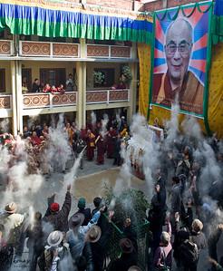 Celebrating Lhosar (Tibetan New Year) at Monastery in Bouddha. Kathmandu, Nepal.