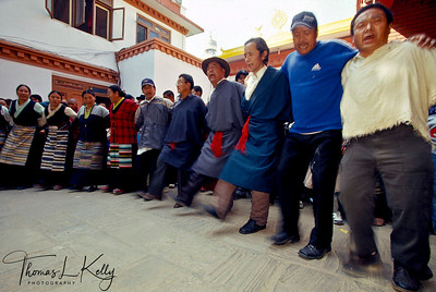 Sherpas of upper Himalaya dance in joy of Lhosar, The Tibetan New Year. Kathmandu, Nepal.