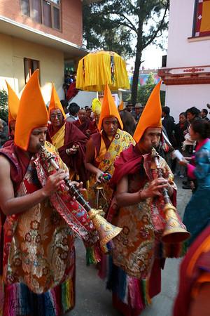 Monks gather at Monatery in Bouddha to celebrate Lhosar, The Tibetan New Year. Kathmandu, Nepal.