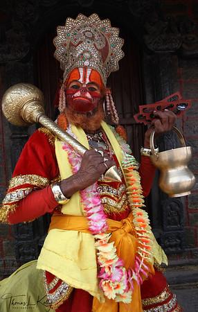 Hanuman, an ardent devotee of Rama.  Pashupatinath temple, Kathmandu, Nepal.