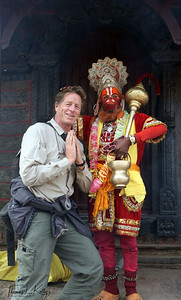 Getting blessed by Hanuman.  Pashupatinath temple, Kathmandu, Nepal.