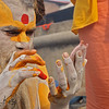 The vertical design of this sadhu's tilaka shows him to be a Vaishnava, or follower of Vishnu, whose gentleness is reflected in his devotees and their clothing of white or yellow, the colors of purity and surrender.<br /> Pashupatinath temple, Kathmandu, Nepal.