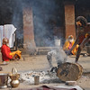 During the time of festival, a Sadhu prepares a dhuni. <br /> Pashupatinath temple, Kathmandu, Nepal.