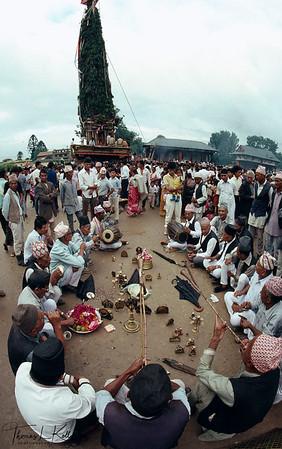 Priest perform ritual prior to pulling Rato Macchendranath chariot through Patan. Nepal