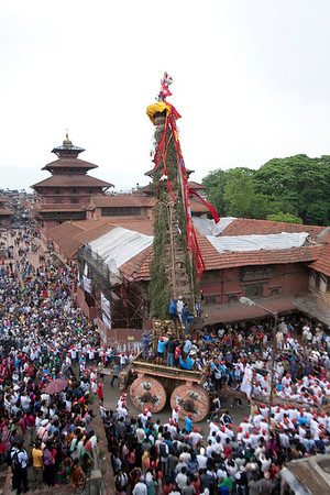 Rato Machendranath chariot pulled through the Patan Durbar Square during the festival. Patan, Nepal.