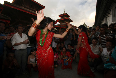 Teej festival celebration in Kathmandu, Nepal.