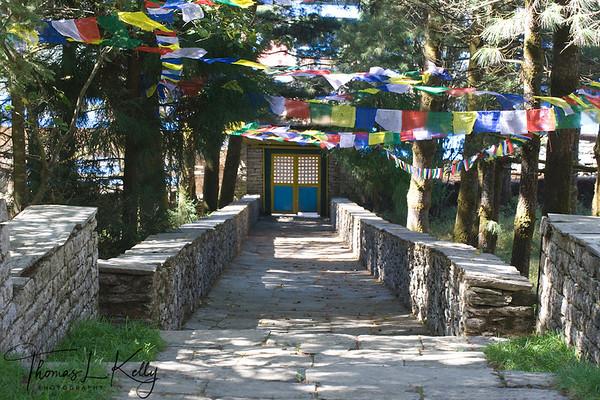 Stone walkway entrace of Hotel Del Sherpa in Solu, Nepal.