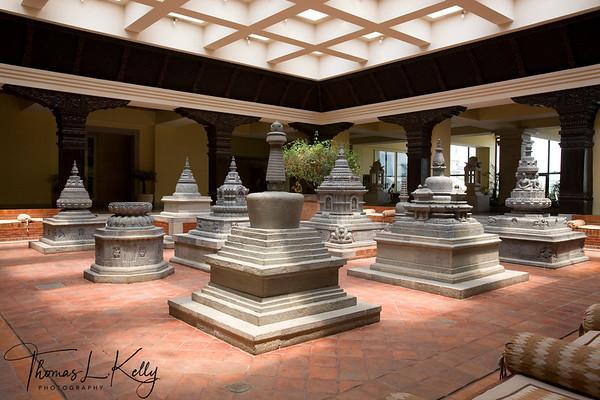 Chaitya/chortens greets you at Hyatt Regency Hotel in Bouddha. Kathmandu, Nepal.