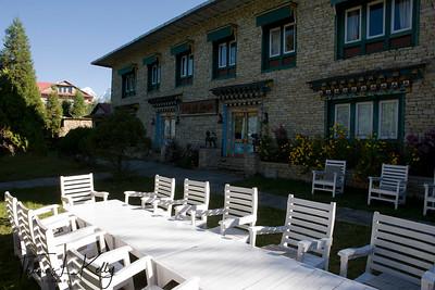 Breakfast table at the garden of Hotel Del Sherpa. Solu, Nepal.