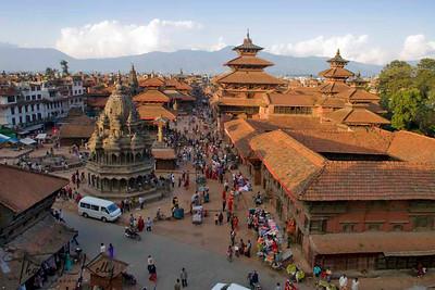Overview of Patan Durbar Square.  Lalitpur, Kathmandu, Nepal.
