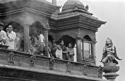 Pilgrims at Krishna temple during Krishna Asthami festival.  Lalitpur, Kathmandu, Nepal.
