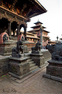 Looking towards Patan Museum from North-west corner of Patan Durbar Square. Patan, Nepal.