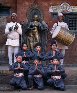 Dhime dancers. Lalitpur, Kathmandu, Nepal.