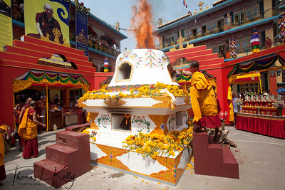 Monks of  Benchen Phuntsok Dargyeling Monastery performing the burnt offering for Buddha Akshobya during cremation ceremony of Ven. Kyabje Tenga Rinpoche. For the fire offering practice they used a special text edited by the 15th Karmapa Kakhyab Dorje, which carries great blessings Kathmandu, Nepal.