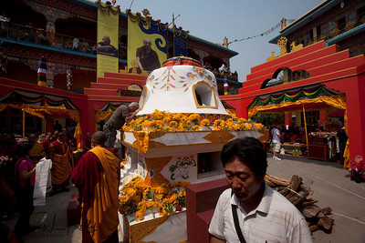 Devotees and monks making offerings to Cremation chorten of Ven. Kyabje Tenga Rinpoche at Benchen Phuntsok Dargyeling Monastery. He passed away on 30th of March, 2012 at 3:24 a.m. Kathmandu, Nepal.