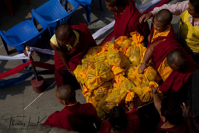 Devotees and monks gather at monastery, Benchen Phuntsok Dargyeling Monastery to attend Kudung (Cremation) of Ven. Kyabje Tenga Rinpoche. He passed away on 30th of March, 2012 at 3:24 a.m. Kathmandu, Nepal.