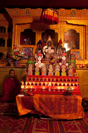 A monk pay homage at altar of His Holiness Trulshik Rinpoche at Dzarong Thupten Mindrol Dongag Chhyoling Monastery on the 49th day.