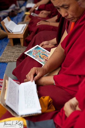 Monk reading sacred text during Kudung of His Holiness Trulshik Rinpoche at Dzarong Thupten Mindrol Dongag Chhyoling Monastery on the 49th day.