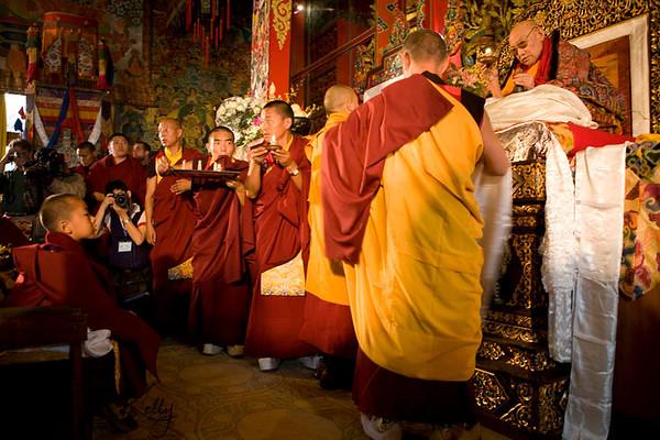 His Holiness Trulshik Rinpoche blessing monks during Coronation Ceremony of Kyabje Urgyen Tulku at Chyoki Nima's Monastery. Kathmandu, Nepal.