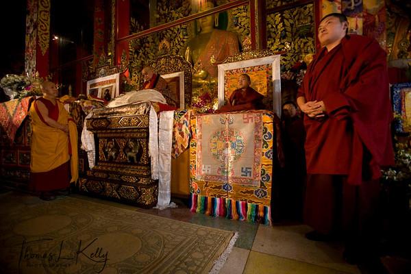 His Holiness Trulshik Rinpoche performing ritual during Coronation Ceremony of Kyabje Urgyen Tulku at Chyoki Nima's Monastery. Kathmandu, Nepal.