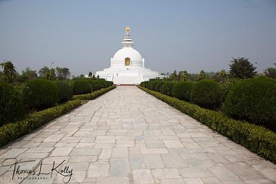 Bishwa Shanti stupa (World Peace Pagoda) inside Lumbini complex. It was dedicated in November of 2001. Lumbini, Nepal.