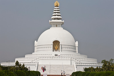 Bishwa Shanti stupa (World Peace Pagoda) inside Lumbini complex. It was dedicated in November of 2001. Lumbini, Nepal.