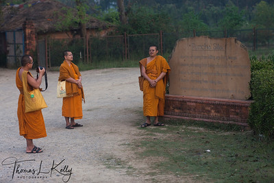 Thai Monks taking photos in Lumbini. Nepal.