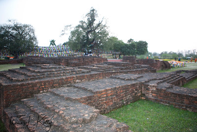 Ruins of ancient monasteries and stupas near the famous Mayadevi temple in Lumbini. Nepal.