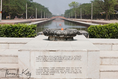 This Eternal Lamp was set aflame on 1st of November 1986 by then His Royal Highness Prince Gyanendra Bir Bikram Shah Dev to commemorate the International Year of Peace. The flame was brought from United Nations (New York, USA) to integrate peace and harmony among the global community. Lumbini, Nepal.