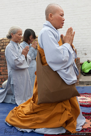 Buddhist pilgrims from various denomination come to Lumbini to pay their homage. Nepal.