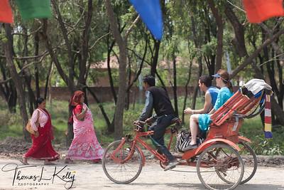 Rickshaw is best mode of transport to explore different monasteries in Lumbini. Nepal.