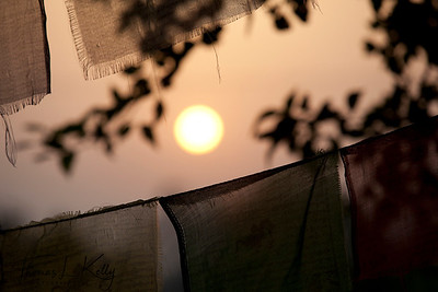 Sun rise between prayer flags.  Lumbini, Nepal.