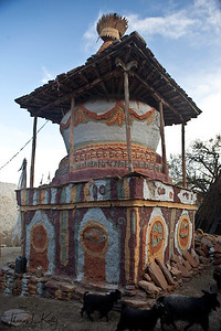 Chorten with religious marking. Ghiling (Geling). Mustang, Nepal.