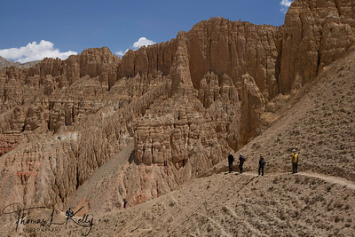 On the way to Konchokling Cave pass Chosher village. The Cave is fully equipped with some of the ancient Wall Paintings along with the rugged landscape and mid hills. It is believed that the Cav originated 2000 years ago. Mustang, Nepal.