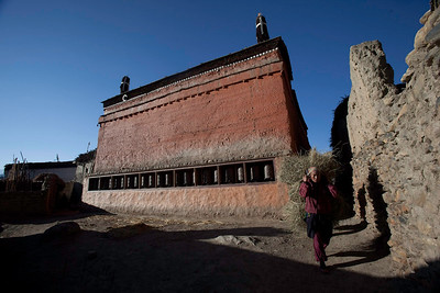 13th century Monastery. It was recently repaired and repainted. Ghemi Village, Mustang, Nepal.