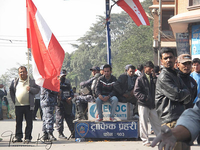 Nepali congress taking out a rally with NC flags to protest against the death of Tarun Dal Chitwan chairman Shiva Paudel in Kathmandu on Monday, Dec-19-2011. Kathamandu, Nepal.