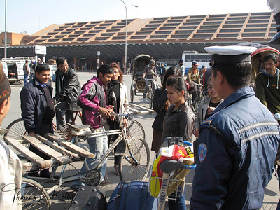 Rickshaws and thelagadas in greater demand outside Tribhuwan International Airport on the vehicle strike day called by Congress on Dec-19-2011. Kathamandu, Nepal.