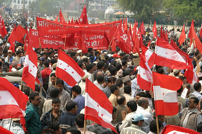 A year-old standoff continues between the King Gyanendra, and the country's four political parties, which have refused to join the current government. 20th April 2006. Kathmandu, Nepal.