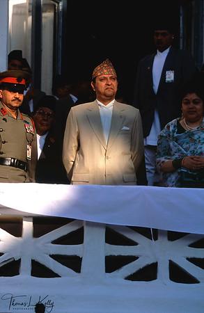 King Gyanendra and Queen Komal attending Indra Jatra fetival at Kathmandu Durbar Square.