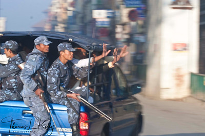 Security Personnel Guarding the city Minutes before the curfew which beigns from 8 am to 6 pm New Road, Kathmandu, Nepal