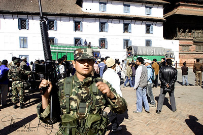 Nepal Army continues to patrol and provide security against rising unrest in the Kathmandu Valley, despite of several rallies taking place, called by the Unified Communist Party Nepal (UCPN) over the controversial sacking of the Chief of Nepal Army staff, Rookmangud Katawal. The Government is trying to build concensus among political parties to remove Katawal. The Maoist Government of Nepal including the Defence Minister, Ram Bahadur Thapa (Maoist Party), have demanded the Chief of Army Staff to be sacked based on three counts:  1) For recruiting Nepalese Soldiers.  2) Disagreeing with the requested retirement of the eight Brigadier Generals of the Nepal Army. 3) The withdrawal of the Nepal Army from the recent National Games.  Kathmandu, Nepal.
