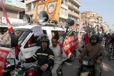 Pro-King of Nepal procession, Kathmandu, Nepal.