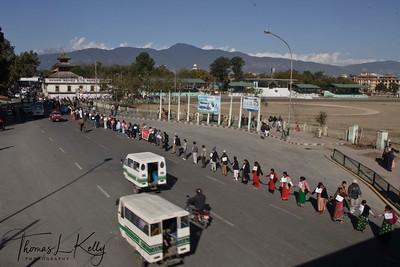 Human chain to support and establish peace in Nepal. Kathmandu, Nepal. 2005