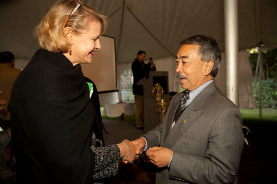 Andra Wojnar Diagne, the Nepal Director for Peace Corps  meet Chiz Shrestha (ex-Volunteer for Peace Corps) at the re-launch meeting of Peace Corps in Nepal. Kamal Kunj, Kamaladi. Kathmandu, Nepal.