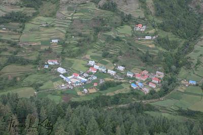 Aerial view of Thupten Choeling Monastery. Solu, Nepal.