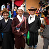 Jamaling Lama with his relatives attends Mani Rimdu festival at Chiwong Monastery. He is the main sponsor of this festival. Solu Khumbu, Nepal.