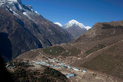 Namche Bazar with Mt. Everest, Lhotse and Nupse on the background. Lukla, Nepal.